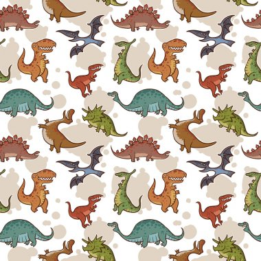 Vector dinosaur seamless pattern