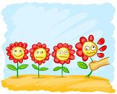 tecknade blommor på ängen