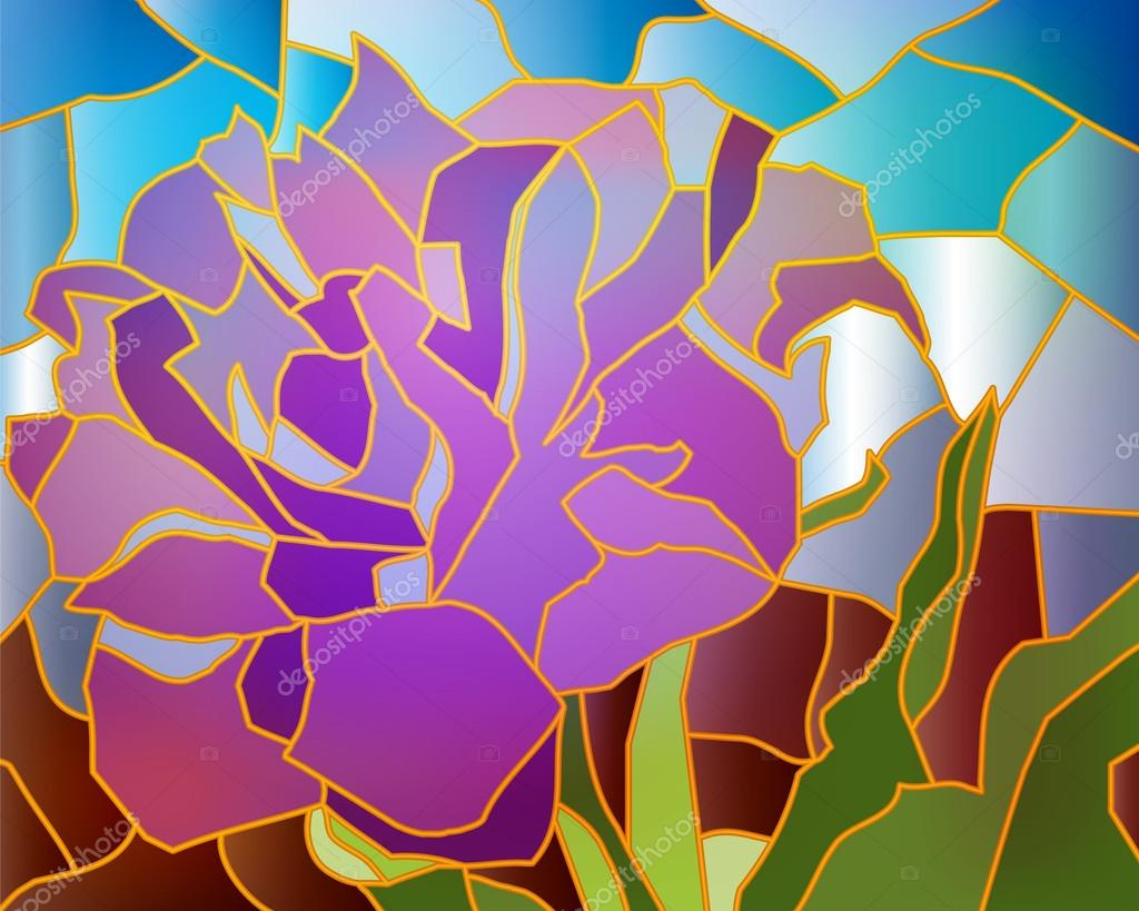 Stained glass purple tulip