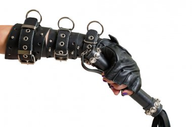 Hand in Leather Glove and Lash