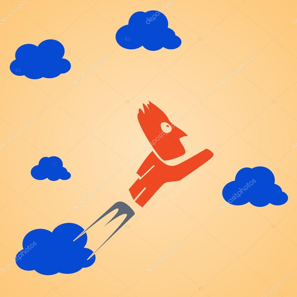 Летающий человек облака — стоковый вектор