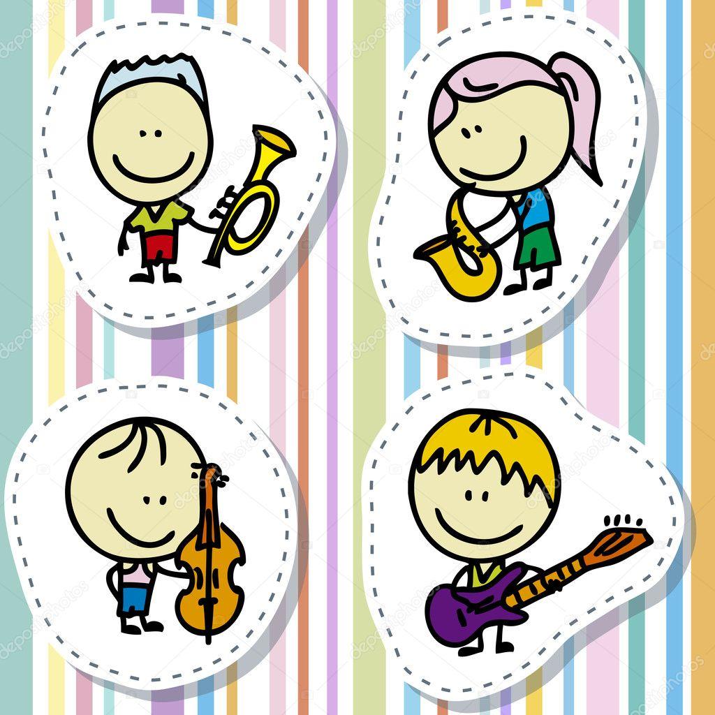 Music kids — Stock Vector © alanuster #15636637