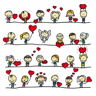 Set of borders with doodle happy children with love valentine hearts clip art vector