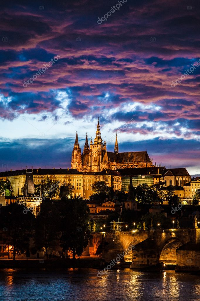 View of St. Vitus Cathedral in Prague at night