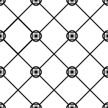 Seamless geometric tile pattern black and white clip art vector