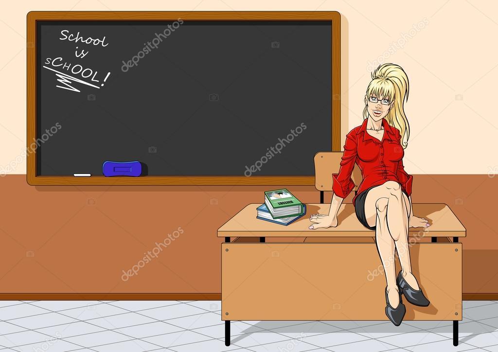 Mooie leraar zitten op bureau u stockvector ominodicarta