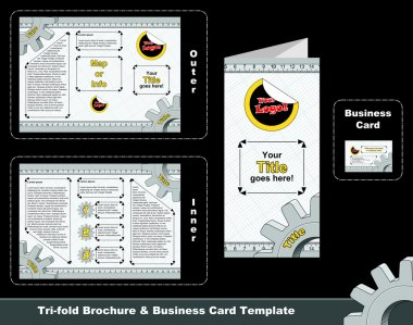 Technical tri-fold depliant and business card template