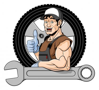 Cheerful tire specialist