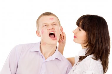 the girl gets angry, pulls his guy for ear