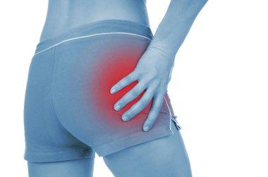 sore pelvis, shown red, keep handed