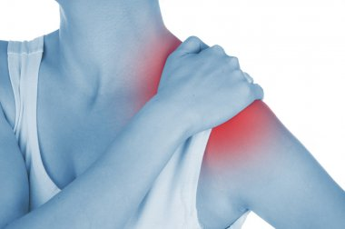 sore shoulder, shown red, keep handed