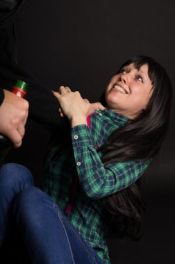 Violence, drunken husband beats his wife