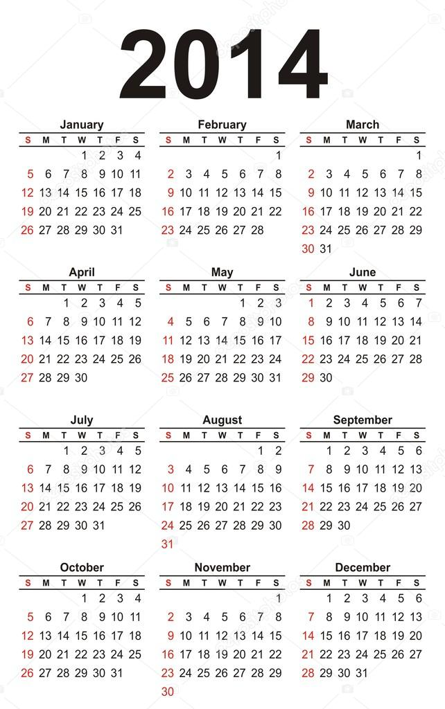2o14 naptár 2014 Naptár sablon — Stock Vektor © varchik22 #30994407 2o14 naptár