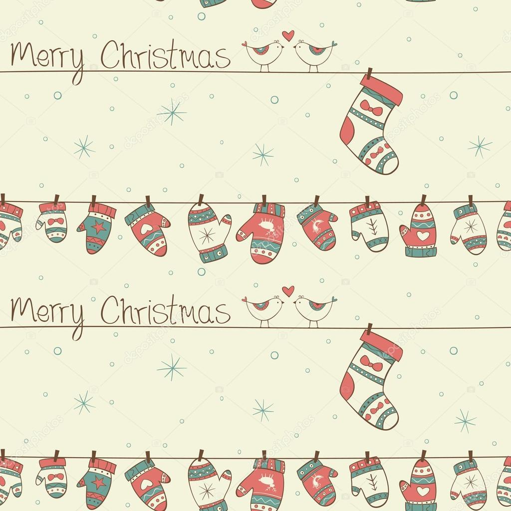 patrón sin costuras de Navidad con los pájaros, calcetines guantes ...