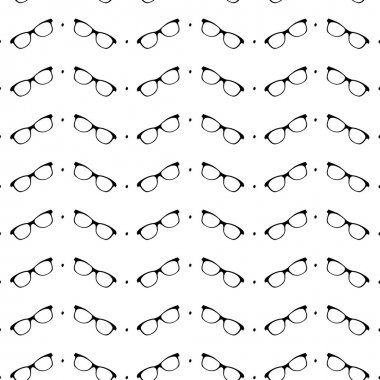Seamless black and white pattern with eyeglasses