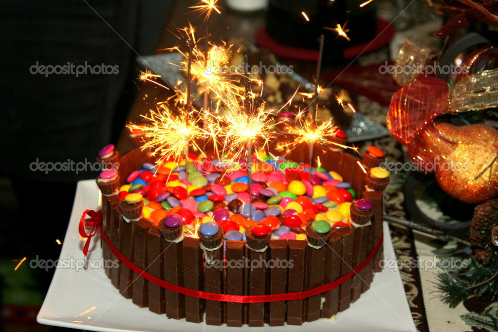 Birthday Cake Covered With Smarties Chocolate And Sparklers Photo By Nadine123