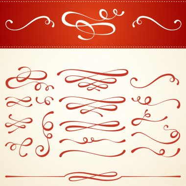 Set of elegant type embellishments for use as ornamental typographic elements. Festive calligraphic design style for seasonal holidays like Christmas and winter celebration. Fancy swirls and curls. Commonly used in invitations & greeting cards. stock vector