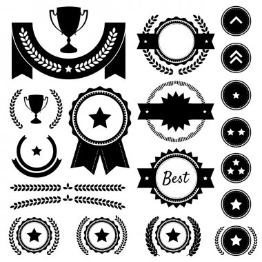 Award, Competition, and Rank Silhouette Element Vector Set