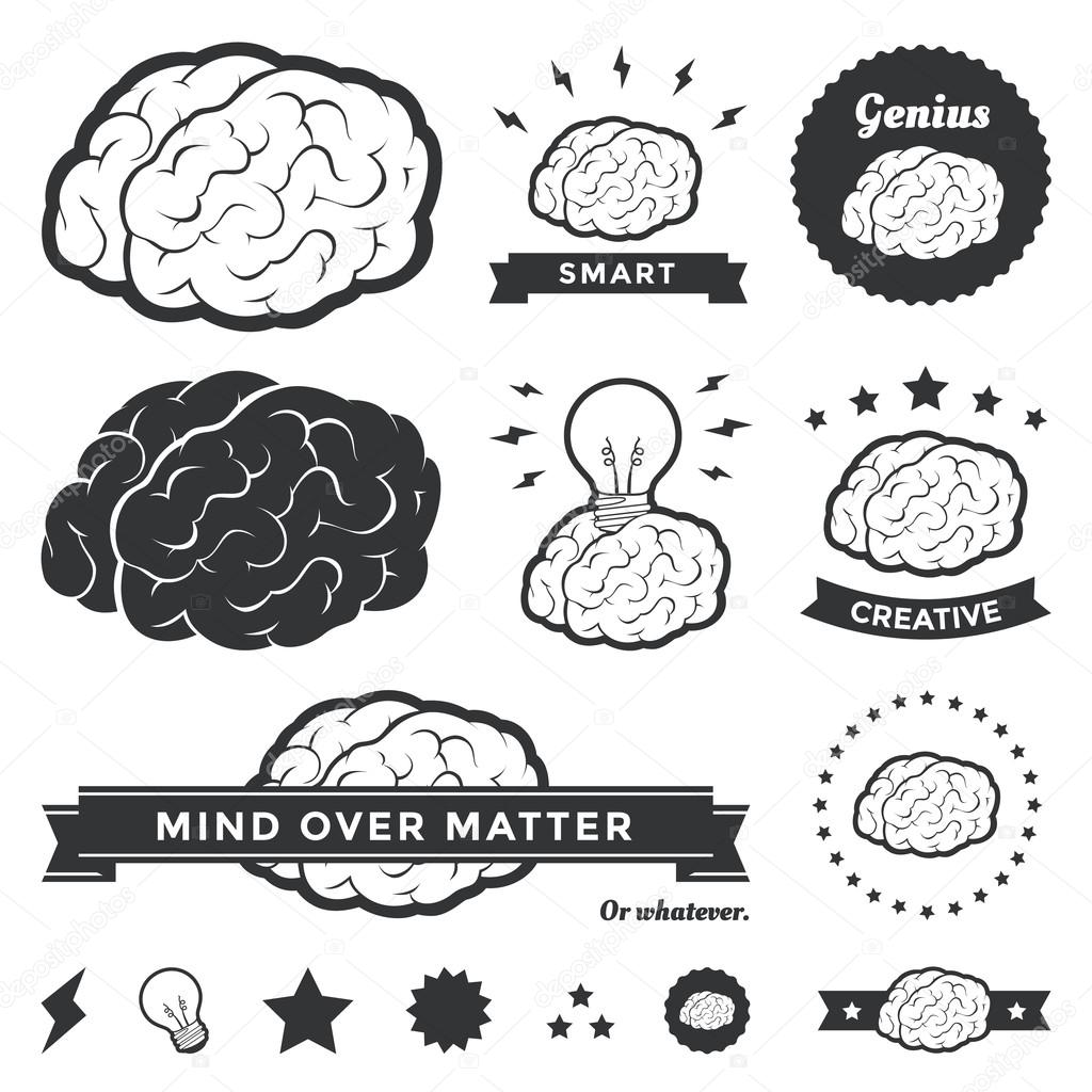 vector brain badges and label collection  u2014 stock vector  u00a9 nicholaskinney  21149043