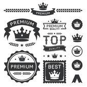 Premium Crown Badges  Vector Element Collection