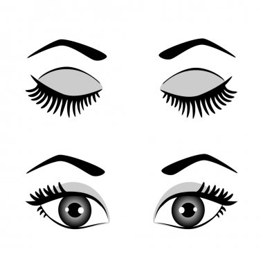 Silhouette of eyes and eyebrow open and closed, black-white vector illustration