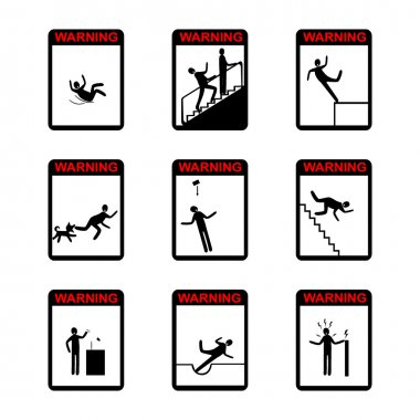 in action Warning Hazard Signs - set of isolated vector icons.