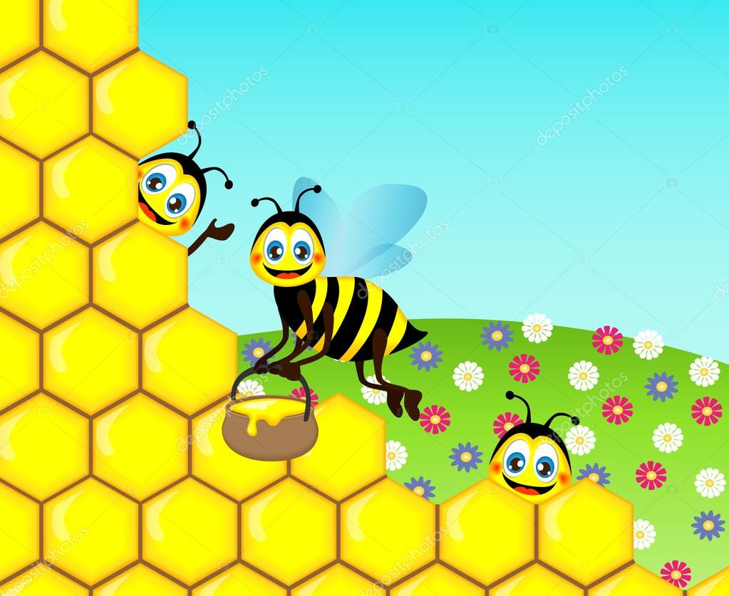 Drawing funny cute bees, vector illustration