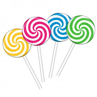 Set with different colorful lollipops, vector illustration