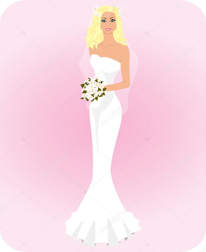 joven hermosa en un vestido de novia y velo con un ramo de flores ...