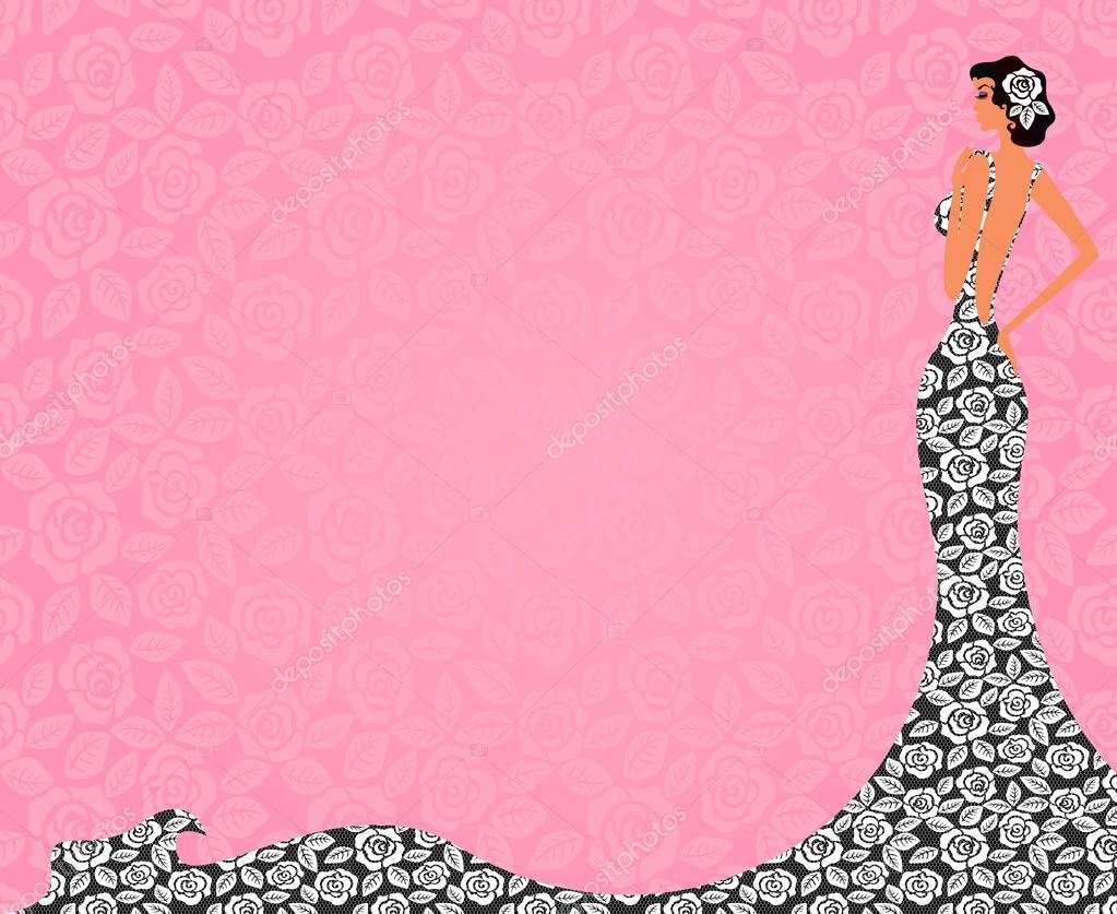 Perfil de una novia hermosa en un vestido de encaje, un lugar para ...