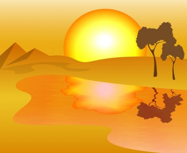 African landscape - the scorching sun, sand and lake, vector illustration