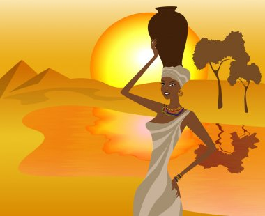 African girl with a pitcher goes to fetch water, vector illustration