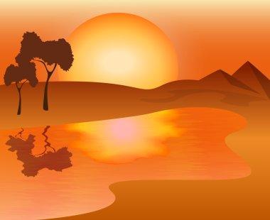African landscape - sunset on the lake, vector illustration