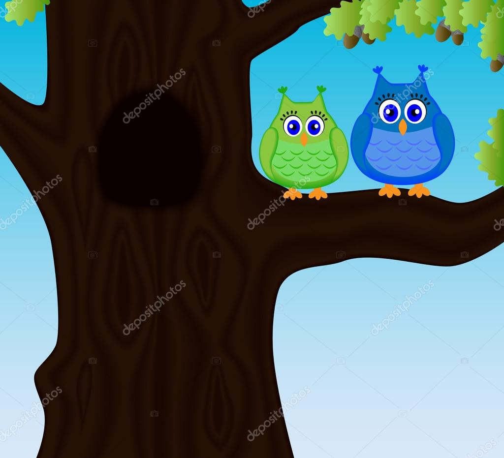 Two cute funny owls sitting on a branch of oak