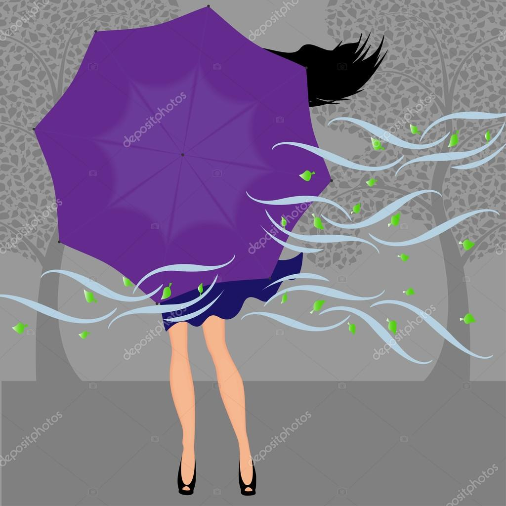 Girl closed umbrella from the wind, vector with space for text