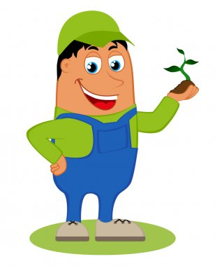 Happy gardener, vector illustration isolated on white background
