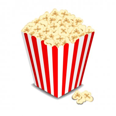Box with popcorn, vector illustration