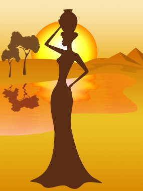 Silhouette of african girl with a pitcher goes to fetch water, vector illustration