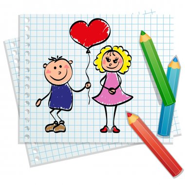 Hand drawn - Girl and boy with balloon, love