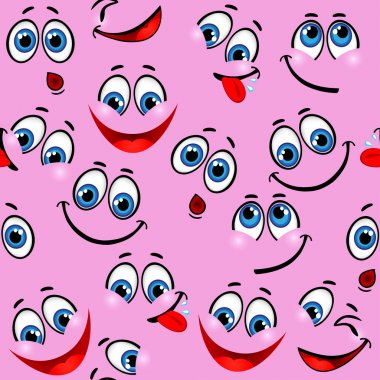 Seamless pattern - funny faces on a pink background