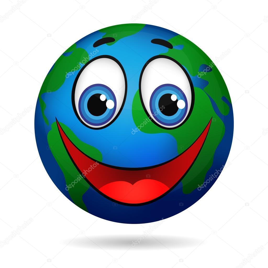Souriant de personnage dessin animé planète terre