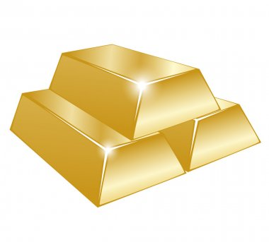 Vector illustration of three gold bars on white background
