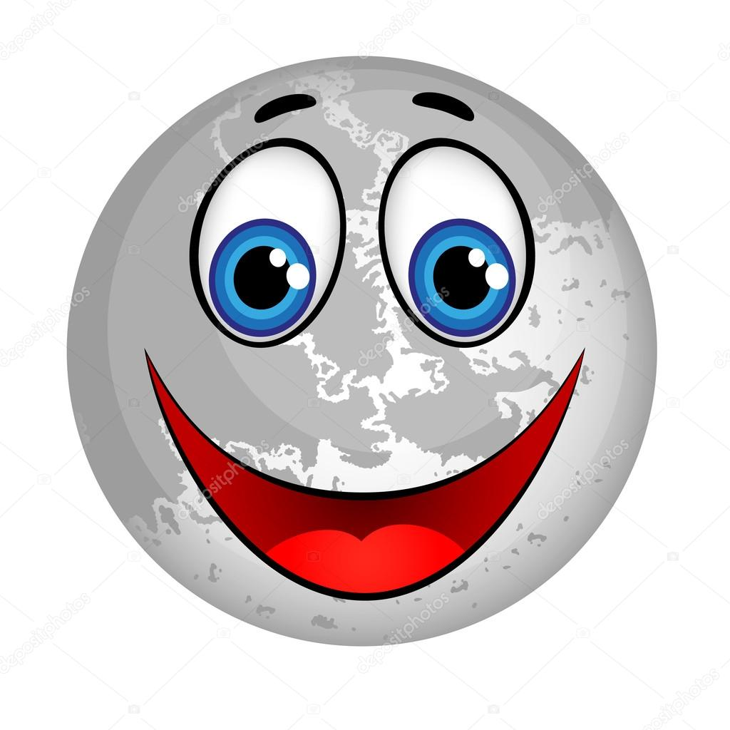 Smiling Planet Moon Cartoon Character.