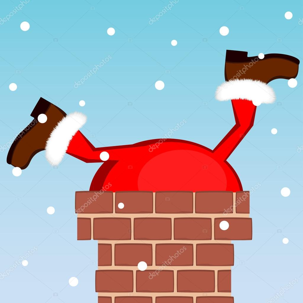 Santa Claus Stuck In The Chimney On The Roof Stock
