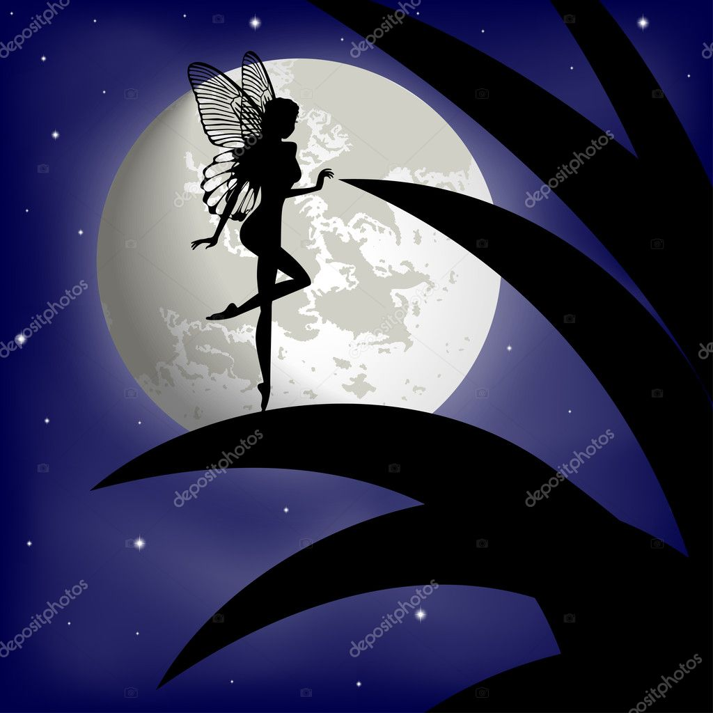 Silhouette fairy girl on a background with the moon