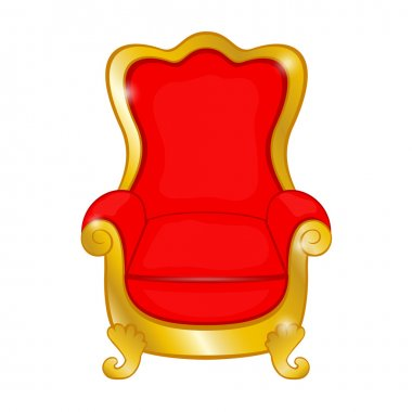 Old red antique armchair on a white background
