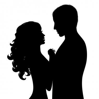 Silhouette a happy couple clip art vector