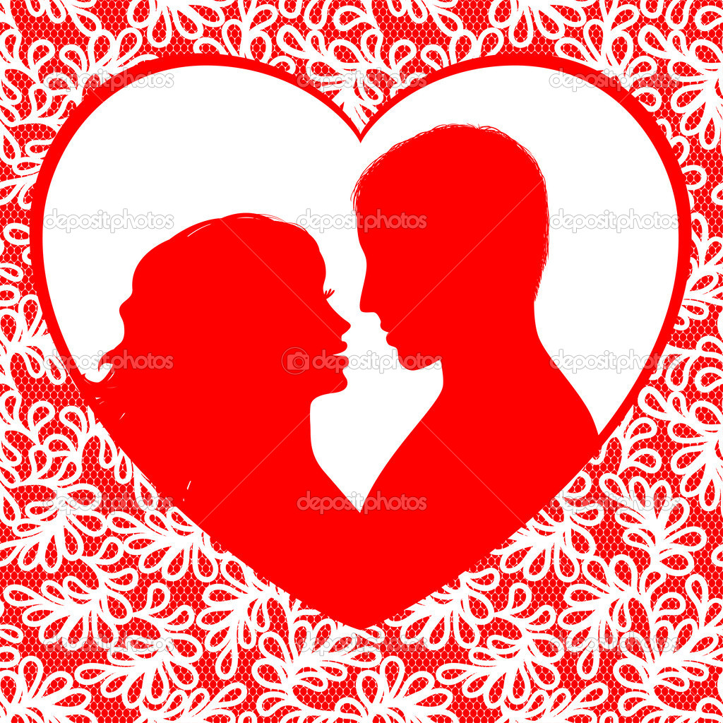 valentines day frame with hearts and silhouette a happy couple stock vector 37217489