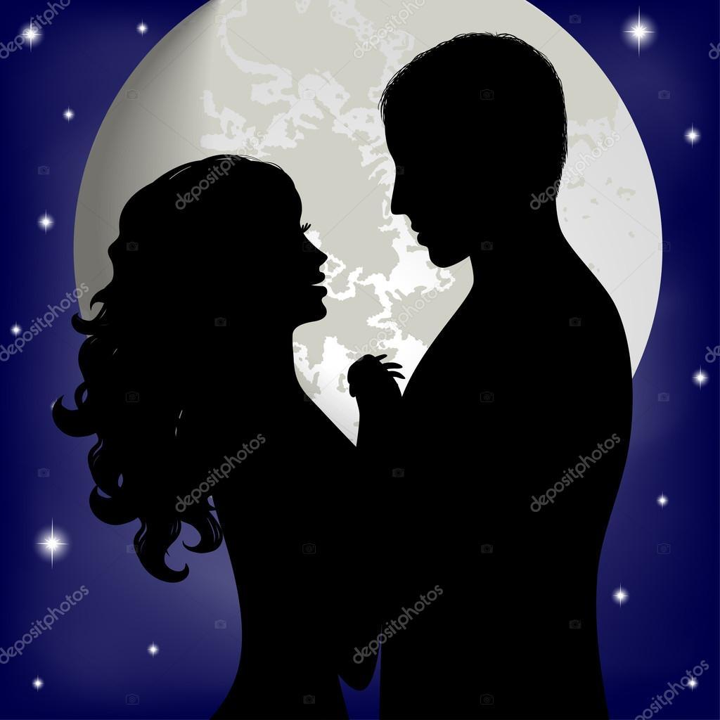 Pareja De Enamorados En El Fondo De La Luna Archivo Imágenes