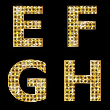 Golden metallic shiny letters E, F, G, H